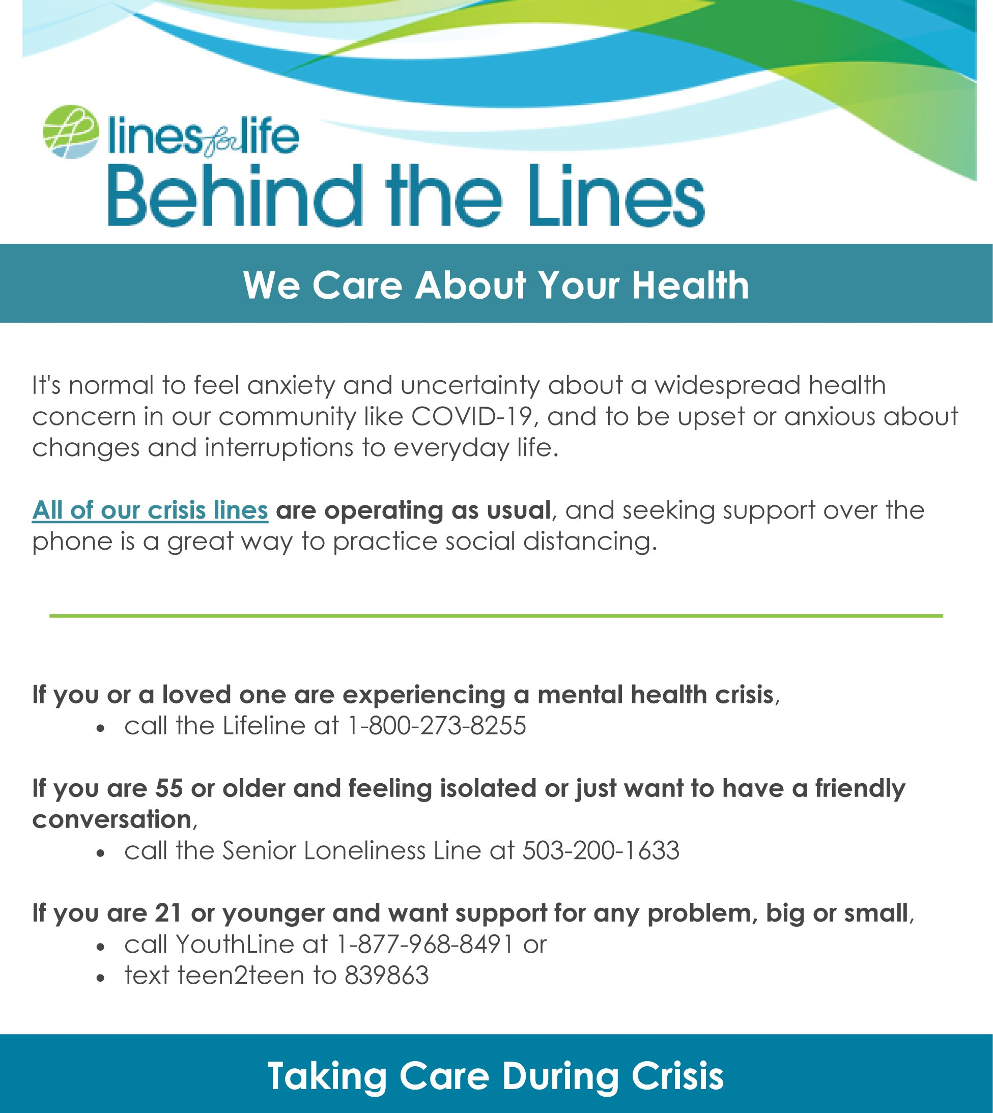 We Care About Your Health behind the lines