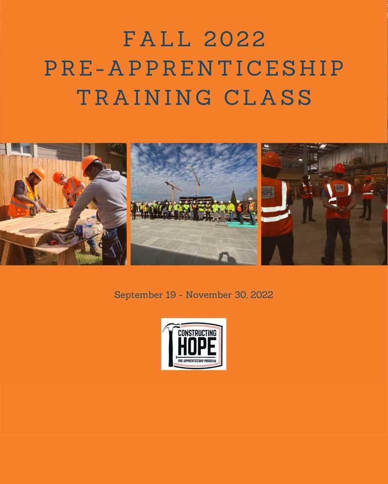 Fall 2022 Pre-Apprenticeship Class