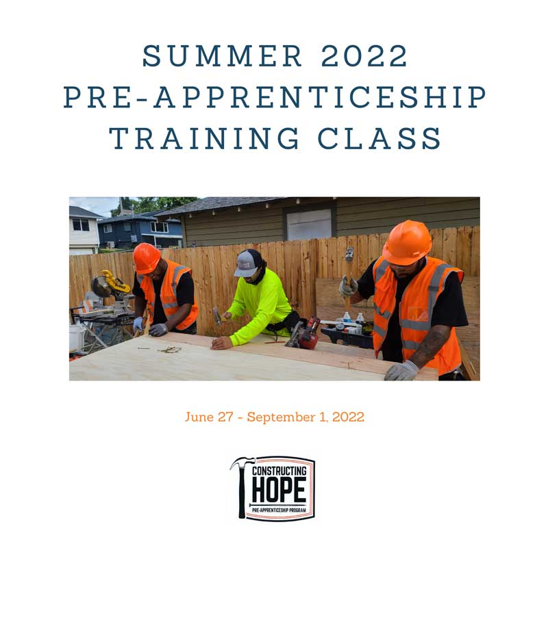 Summer 2022 Pre-Apprenticeship Class